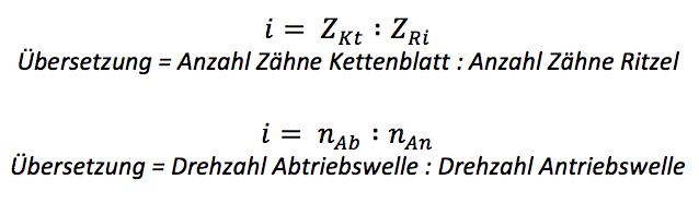 Formel Übersetzung am Fahrrad