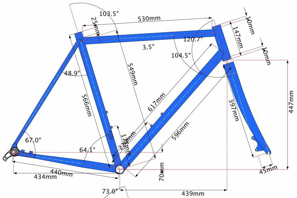 Rahmengeometrie Fahrradgeometrie Diagramm finale Version